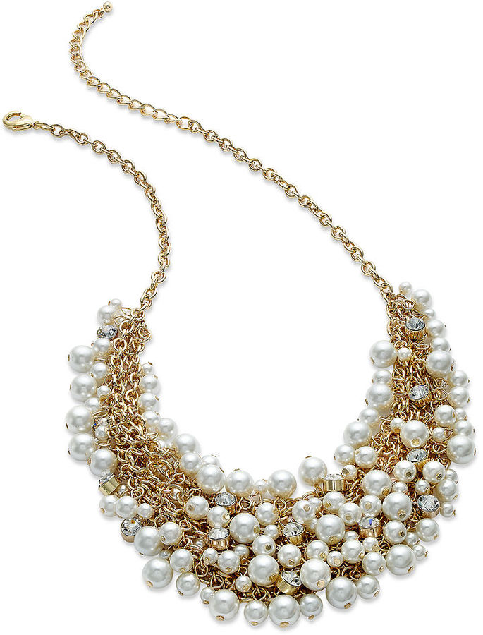Charter Club Gold-Tone Glass Pearl Bib Necklace
