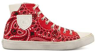 Saint Laurent Bedford Bandana Print Canvas High Top Trainers - Womens - Red White