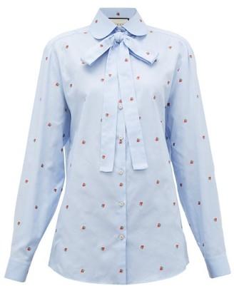Gucci Strawberry Fil Coupe Cotton Oxford Shirt - Womens - Blue Multi
