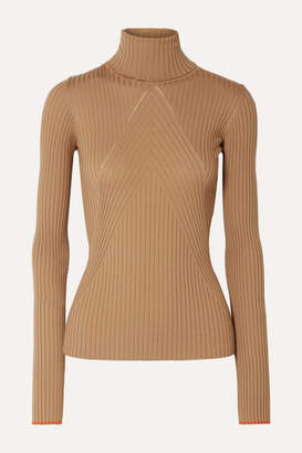 Victoria Beckham Paneled Ribbed Wool Turtleneck Sweater - Camel