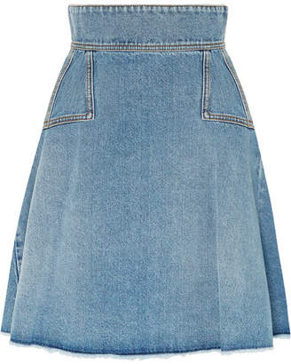 Alexander McQueen Pleated Denim Mini Skirt - Indigo