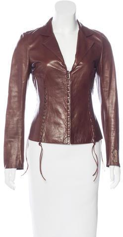 Roberto CavalliRoberto Cavalli Leather Long Sleeve Jacket