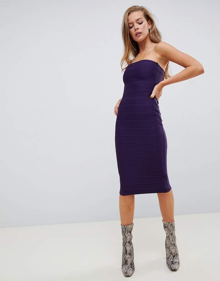 bandage midi dress in purple