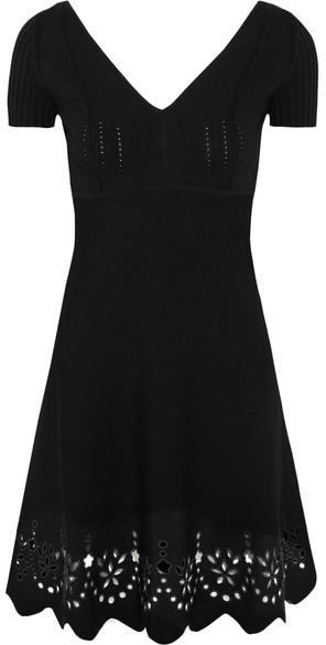 RED ValentinoREDValentino - Embroidered Knitted Mini Dress - Black