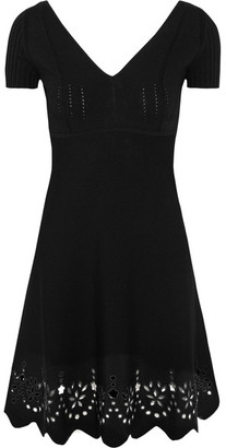 REDValentino - Embroidered Knitted Mini Dress - Black $795 thestylecure.com