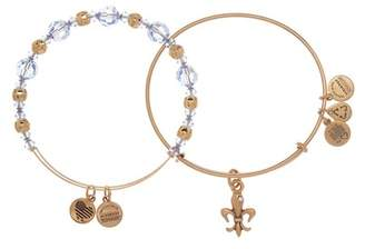 Alex and Ani French Royalty Beaded Expandable Wire Bracelet Set