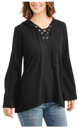 French Laundry Women's Lace Up Bell Sleeve Hoodie