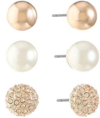 Gloria Vanderbilt 3 Pair Brass Earring Sets