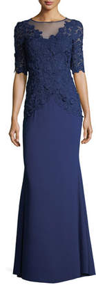 Rickie Freeman For Teri Jon Elbow-Sleeve Lace Mermaid Evening Gown