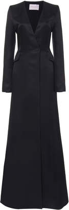 Carolina Herrera Collarless Satin Blazer Gown