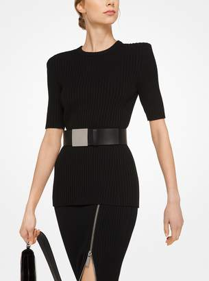 Michael Kors Ribbed Merino Wool Zip Pencil Skirt