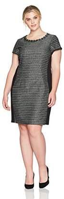 Ellen Tracy Women's Plus Size Tweed Black and Ivory Dress