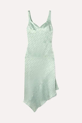Off-White Asymmetric Open-back Satin-jacquard Midi Dress - Green