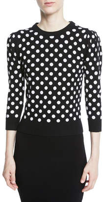 Michael Kors Starlet Dot-Intarsia Cashmere Crewneck 3/4-Sleeve Sweater