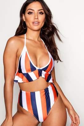 boohoo Kos Mix & Match School Stripe Ruffle Bikini Top