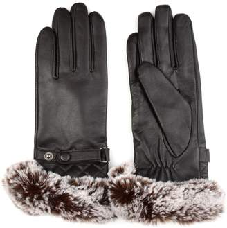 Journee Collection Women's Faux Fur Cuff Leather Gloves