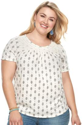 Sonoma Goods For Life Plus Size SONOMA Goods for Life Lace Yoke Tee