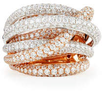 Roberto Coin 18k White & Rose Gold Fantasia Pave Diamonds Crossover Ring, Size 6.5