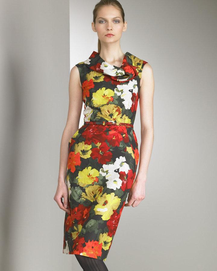 Oscar de la Renta Floral-Print  Dress