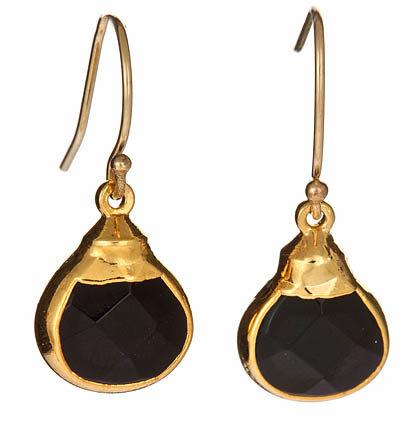 Janna Conner Gold Mini Pear Sarotte Onyx Earrings