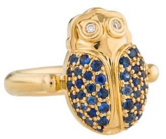 Temple St. Clair 18K Diamond & Sapphire Scarab Ring