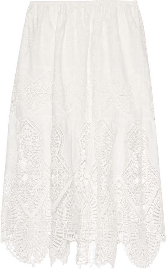 Anna SuiAnna Sui Crochet-trimmed embroidered cotton midi skirt