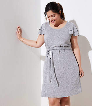 LOFT Plus Tiered Flutter Knit Dress
