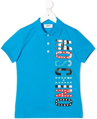 Moschino Kids logo short-sleeve polo top