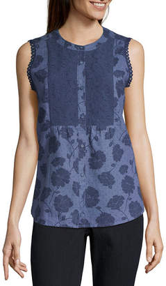 Liz Claiborne Womens Henley Neck Sleeveless Blouse