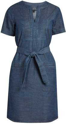 A.P.C. Jess cotton-chambray dress $223 thestylecure.com