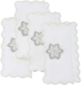 Los Encajeros Set-Of-Four Linen Flower Cocktail Napkins