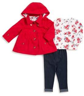 Little Me Baby's Three-Piece Hooded Jacket, Printed Top and Leggings Set
