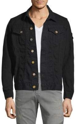 Embroidered Cotton Motorcycle Jacket