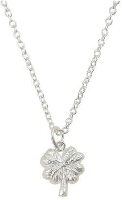 Oliver Bonas Womens Sterling Silver Four Leaf Clover Pendant Necklace - Silver