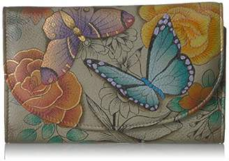 Anuschka Anna by Hand Painted Leather   Large Three Fold Checkbook Wallet/Clutch  
