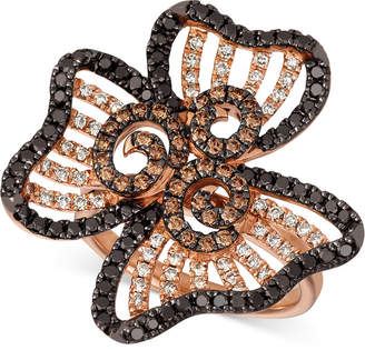 LeVian Le Vian Nude, Blackberry & Chocolate Diamond Flower Ring (1-1/2 ct. t.w.) in 14k Rose Gold