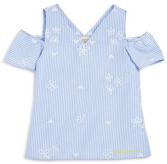 Armani Junior Girls' Striped Embroidered Poplin Top - Big Kid