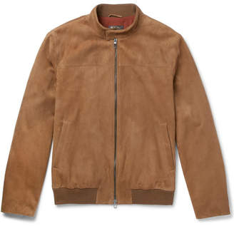 Loro Piana Rain System Suede Bomber Jacket - Light brown