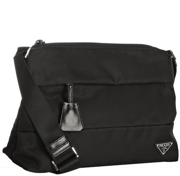 Prada black nylon banded shoulder bag