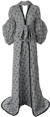 Jonathan Simkhai Smocked Gingham Blouson Sleeve maxi dress