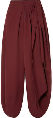 Jacquemus Souela Draped Wool Midi Skirt - Burgundy