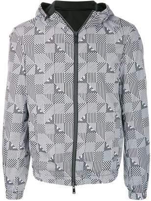 Emporio Armani stripe check print rain jacket