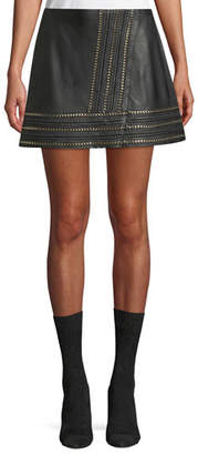 Alice + Olivia Jaya Leather Mini Skirt w/ Chain Trim