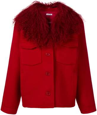 P.A.R.O.S.H. fur collar single-breasted jacket