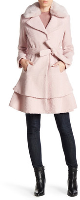 Betsey Johnson Faux Fur Collar Wool Blend Waist Belt Coat $260 thestylecure.com
