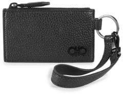 Salvatore Ferragamo Men's Flat Zip Leather Card Case - Black