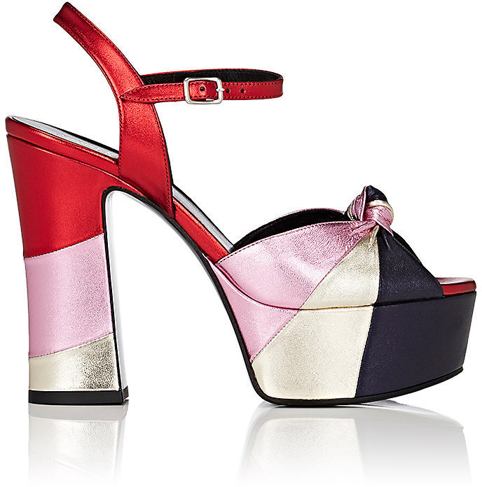Saint Laurent Women's Candy Metallic Leather Platform Sandals