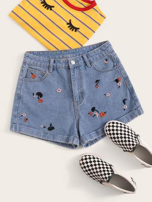 Shein Floral Embroidery Button Fly Denim Shorts