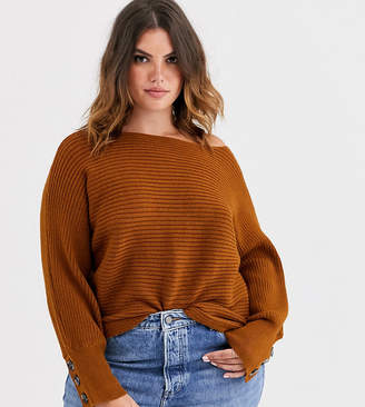Only Curve wide neck rib knitted jumper
