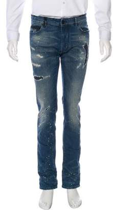 Marcelo Burlon County of Milan Distressed Slim-Fit Jeans w/ Tags